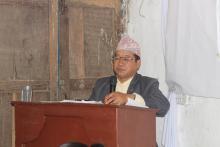 तेश्रो गाउँसभामा नीति तथा कार्यक्रम प्रस्तुत गर्दै गाउँपालिका अध्यक्ष - प्रेमकुमार राई